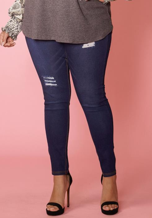 Asoph Plus Size Tight Distressed Skinny Jean