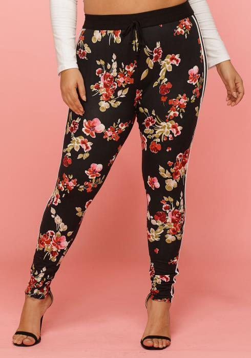 Asoph Plus Size Floral Stretchy Pants