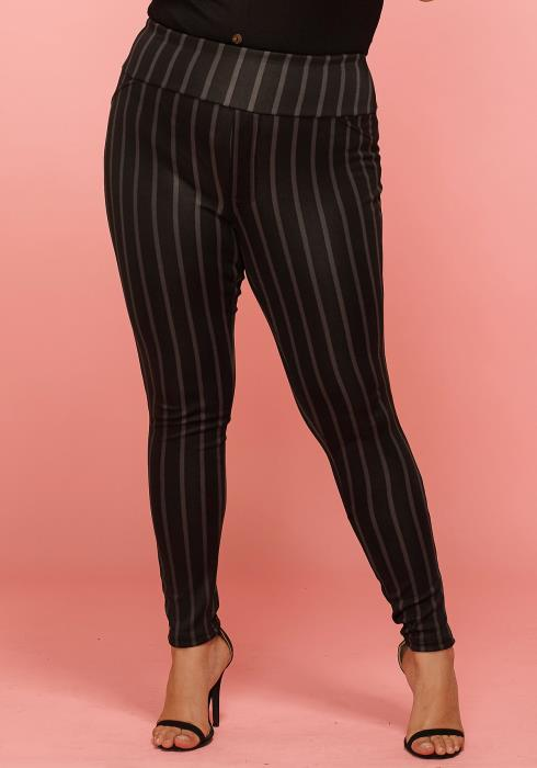 Asoph Plus Size Stripe High Waist Pants