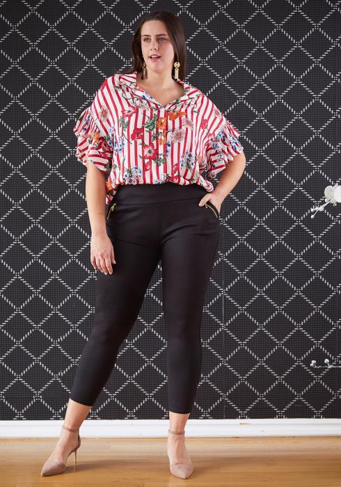 Asoph Plus Size Stretchy Chevron Print Pants