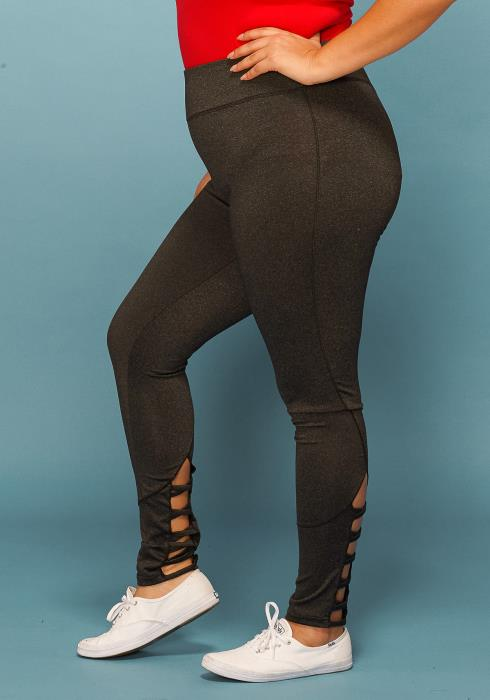 Asoph Plus Size Strappy Hem Leggings