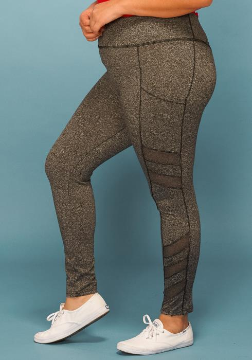 Asoph Plus Size Sheer Mesh Side Active Leggings Wear