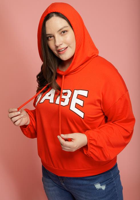 """Asoph Plus Size """"BABE"""" Casual Hoodie"""