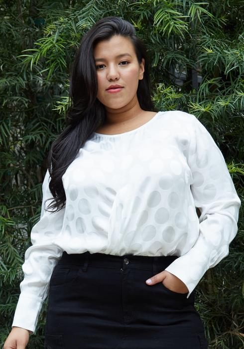 Pleione Plus Size Cross Front Crewneck Blouse Top