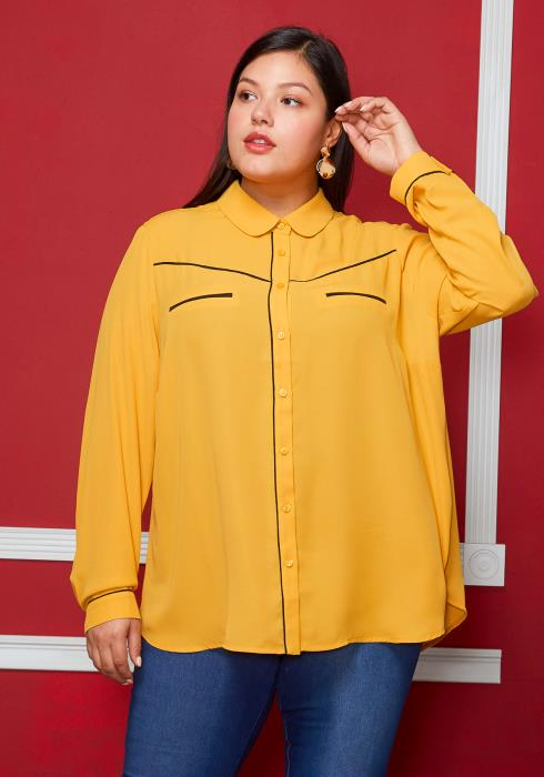 Pleione Plus Size Rounded Collar Button Down Shirt Blouse