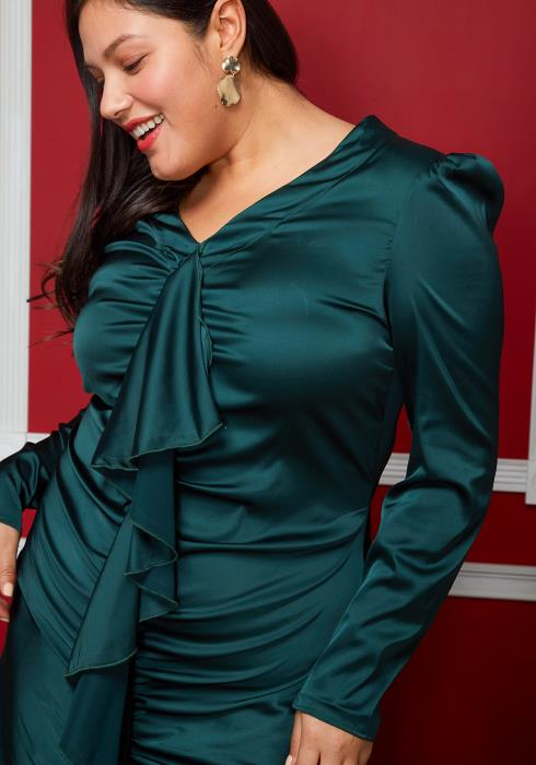 Asoph Plus Size Puff Shoulder Wrinkle Dress