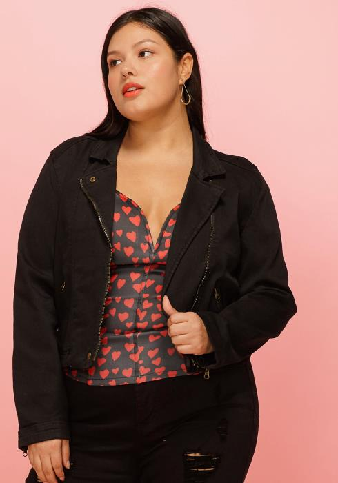 Asoph Plus Size Zip Up Long Sleeve Jacket