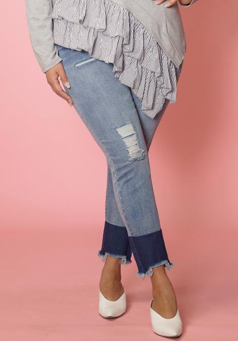 Asoph Plus Size Frayed Hem Color Contrast Skinny Jean