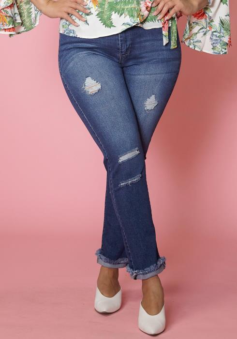 Asoph Plus Size Frayed Hem Distress Skinny Jean