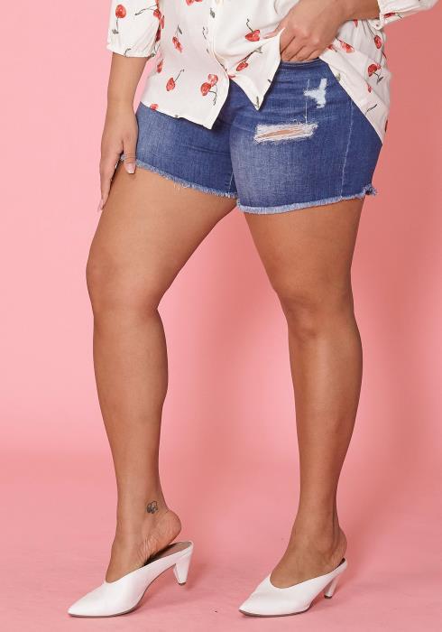 Asoph Plus Size Drawstring Ripped Denim Shorts