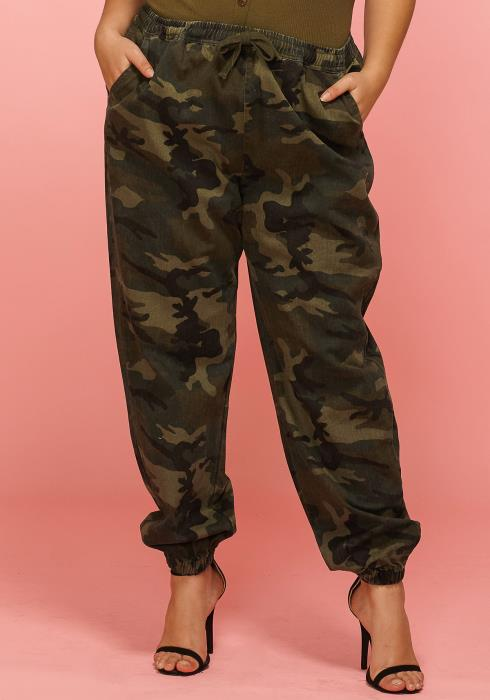 Asoph Plus Size Camo Print Baggy Pants