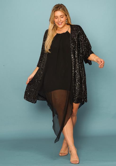 Asoph Plus Size Sequin Sparkling Open Front Cardigan