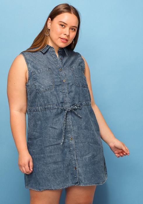 Asoph Plus Size Sleeveless Denim Tie Dress