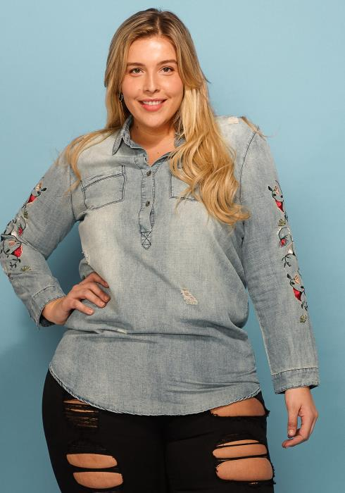 Asoph Plus Size Floral Embossed Sleeve Button Up Denim Shirt
