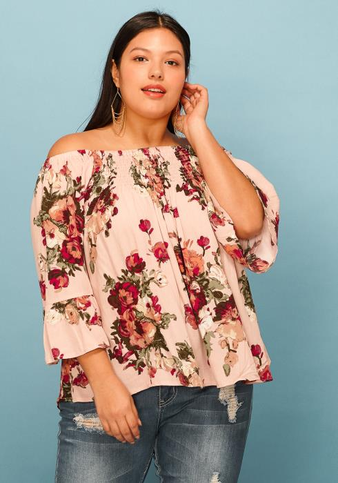 Asoph Plus Size Off Shoulder Floral Ruffle Top