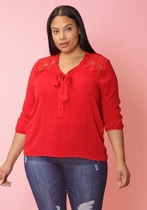 Asoph Plus Size Lace Trim Tie V-Neck Blouse