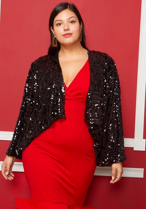 Asoph Plus Size Sparkly Sequin Jacket