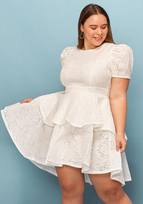 Asoph Plus Size Puff Shoulder Layered Flared Dress
