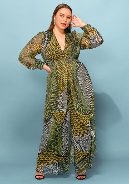 Asoph Plus Size Multi Print Chiffon V-Neck Jumpsuit