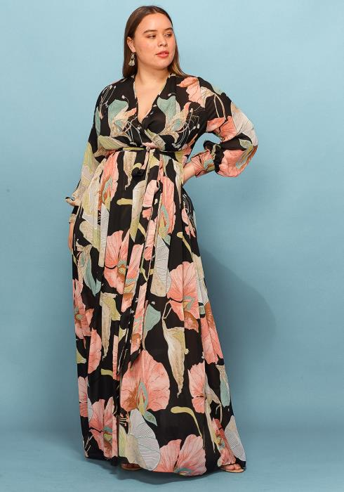 Asoph Plus Size Floral Chiffon Maxi Dress