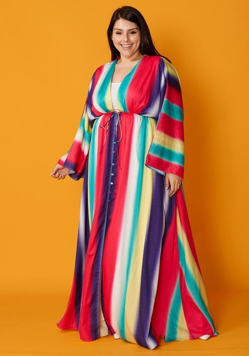 Asoph Plus Size Rainbow V-Neck Maxi Dress