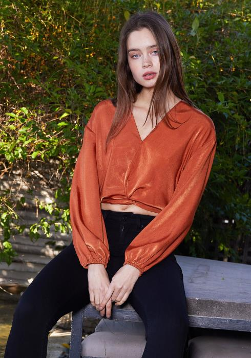 Nurode Twist Front Cropped Washed Satin Top