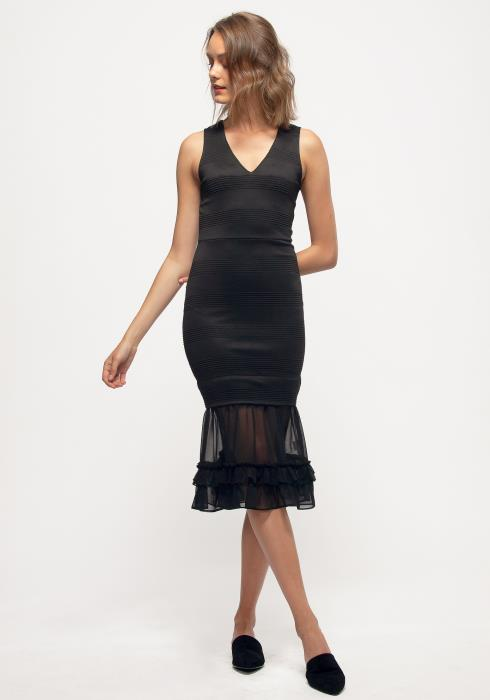 Nurode Sleeveless V-neck Sheer Ruffle Hem Bodycon Dress