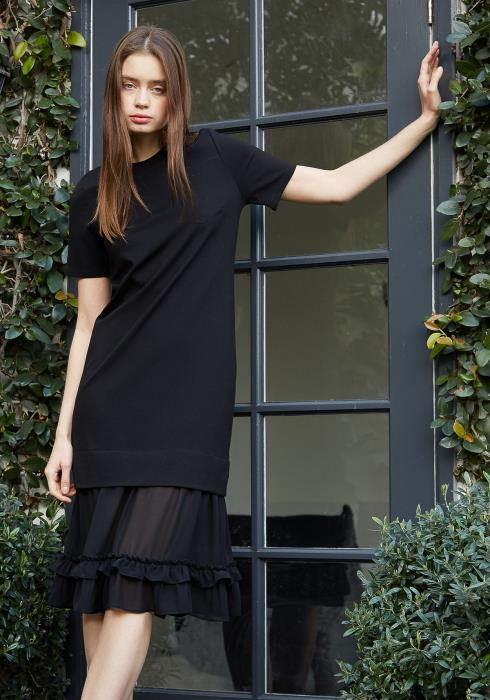 Nurode Sheer Contrast Ruffle Hem Midi Dress