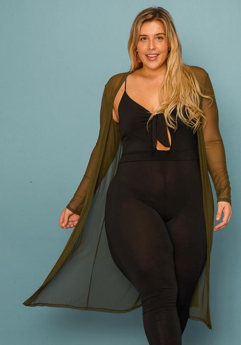Asoph Plus Size Sheer Long Cardigan