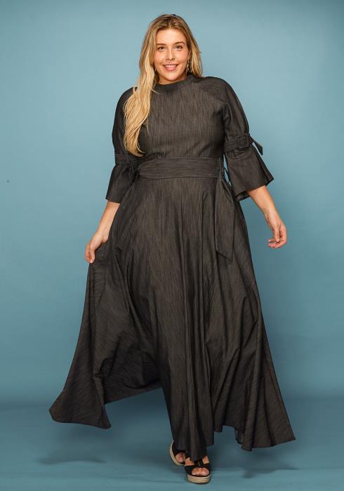 a82fd06668 Asoph Plus Size Denim Waist Belt Maxi Dress