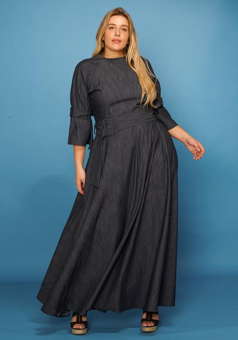 Asoph Plus Size Denim Waist Belt Maxi Dress