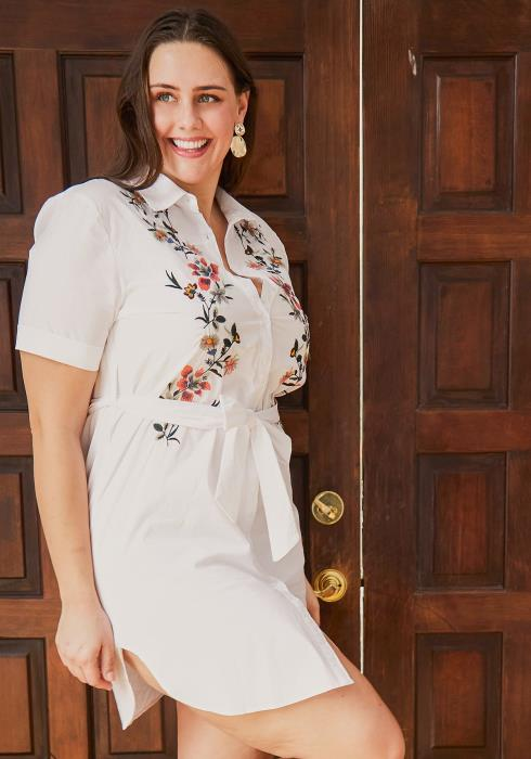 Asoph Plus Size Flower Emobossed Shirt Dress