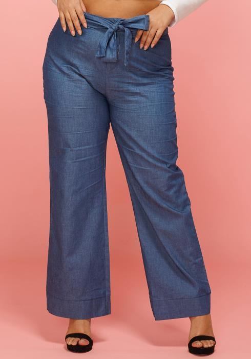 Asoph Plus Size Wide Leg Tie Waist Denim