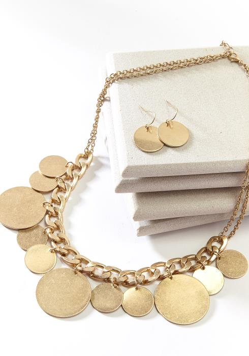 Flat Circle Pendant Necklace Earring Set Gold