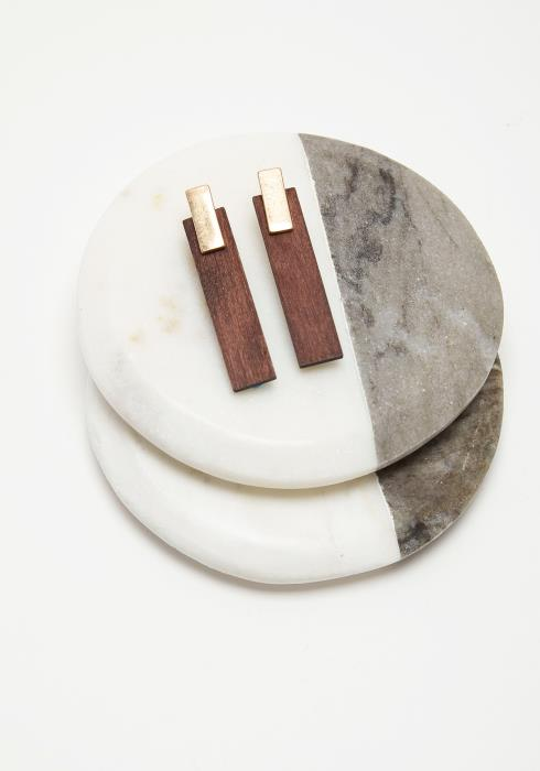 Rectangle Wooden Earring