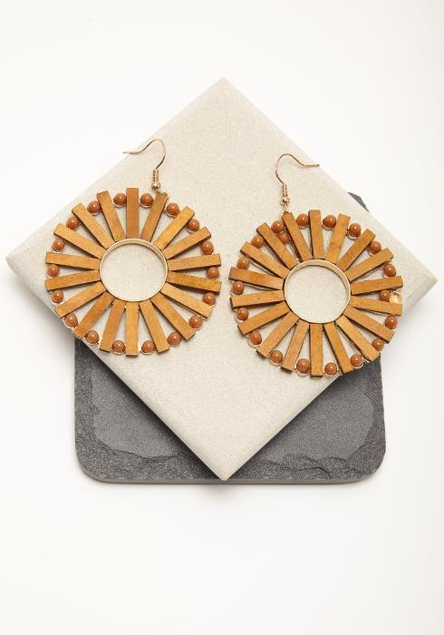 Wooden Round Drop Earring