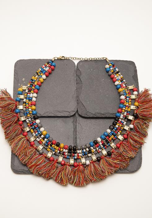 Multi Color Tribal Tassel Necklace