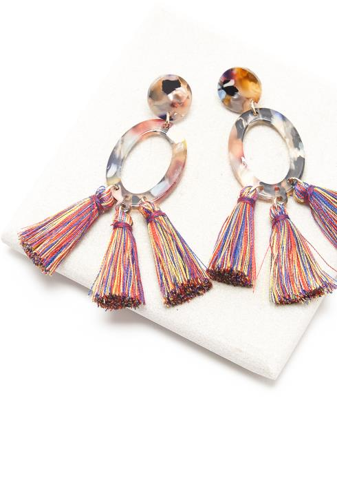 Multi Color Tassel Drop Earring
