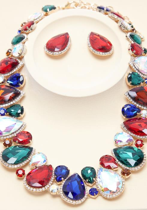 Tear Drop Color Stone Earring & Necklace Set