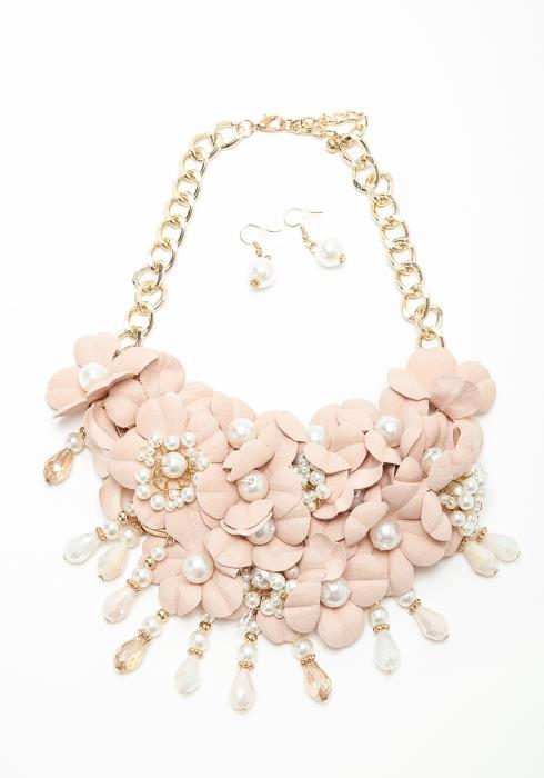 Flower & Pearl Necklace Earring Set