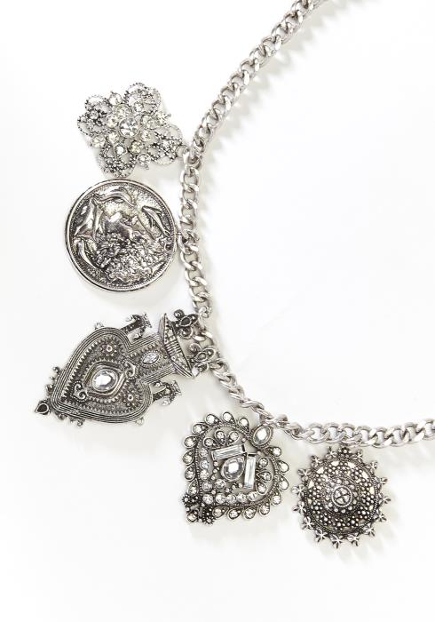 Vintage Heart Pendant Necklace Earring Set