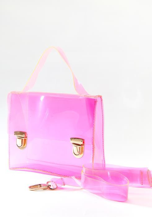 PU Clear Pink Crossbody Bag