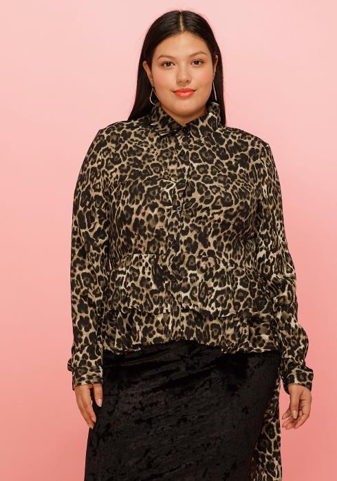 Asoph Plus Size Leopard Bell Layered Hem Hi Lo Blouse