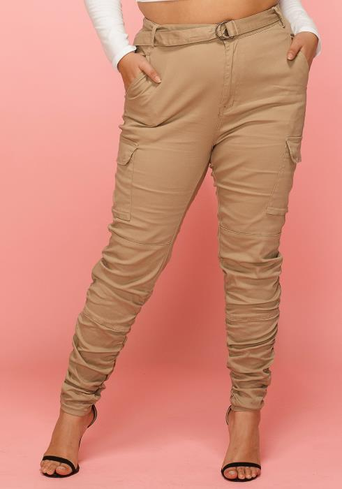 Asoph Plus Size Ruched Pants With Belt
