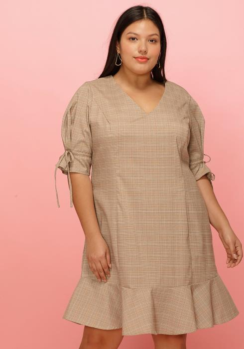 Asoph Plus Size Plaid V-Neck Flare Hem Dress