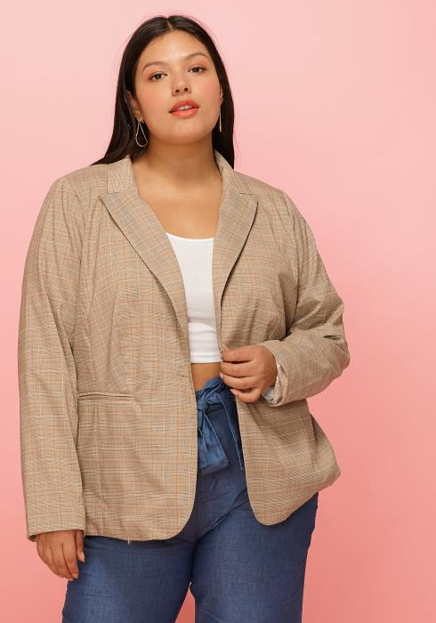 Asoph Plus Size Plaid Trendy Blazer