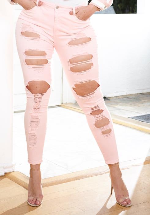 Asoph Plus Size Ripped Black Skinny Jeans