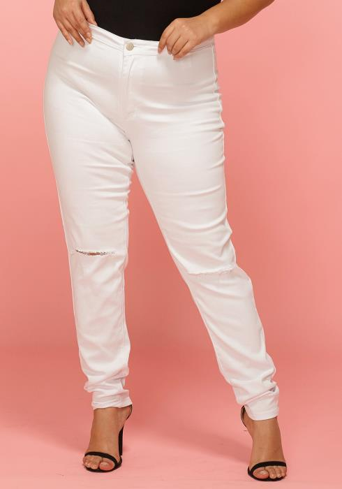 Asoph Plus Size Ripped Knee Denim