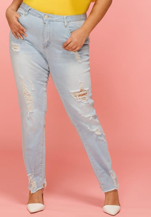 Asoph Plus Size Ripped Knee and Hem Jean