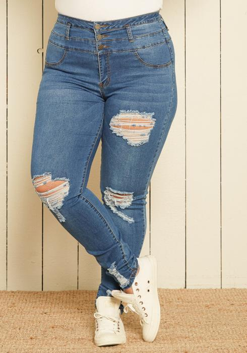 Asoph Plus Size High Waist Skinny Jeans